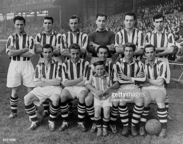 West Bromwich Albion Football Club back row Len Millard Stuart Williams J Dudley Jimmy Sanders W Brookes and Joe Kennedy Seated F Griffin W Carter...