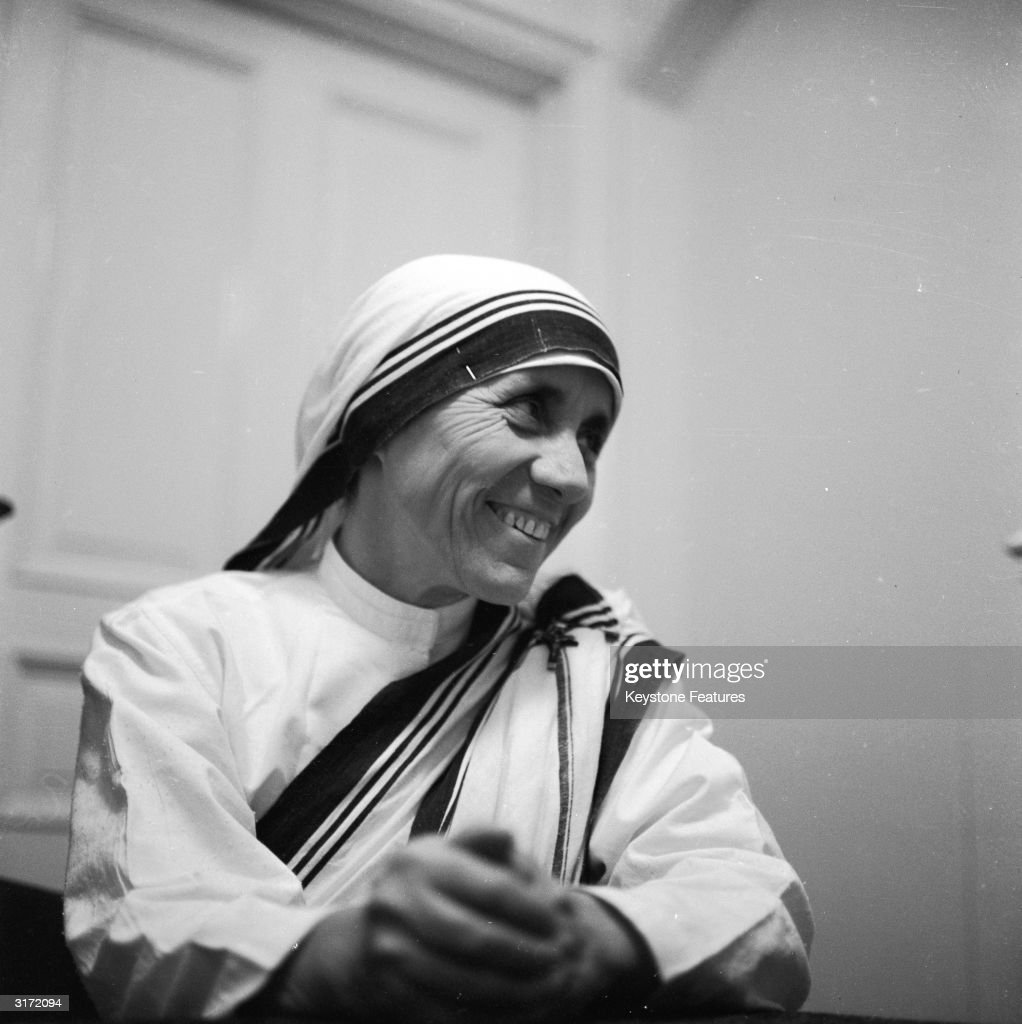 Mother Teresa (1910 - 1997), the Albanian nun who dedicated her life to the poor, the destitute and the sick of Calcutta, earning the Nobel Peace Prize in 1979.