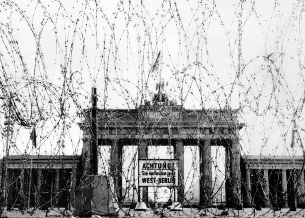 Barbed wire on the West side of the Brandenburg gate,...