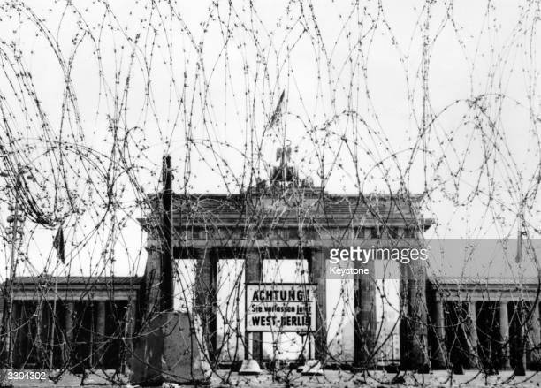Barbed wire on the West side of the Brandenburg gate put up as a 'Safety measure' by the British