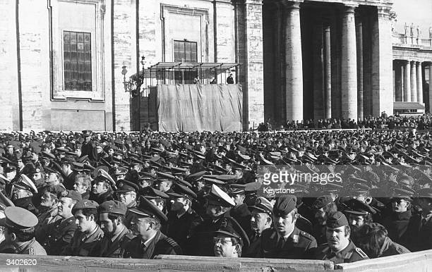 Pope Paul VI celebrating a Holy Year mass in Saint Peter's Square for 16000 soldiers from 21 nations
