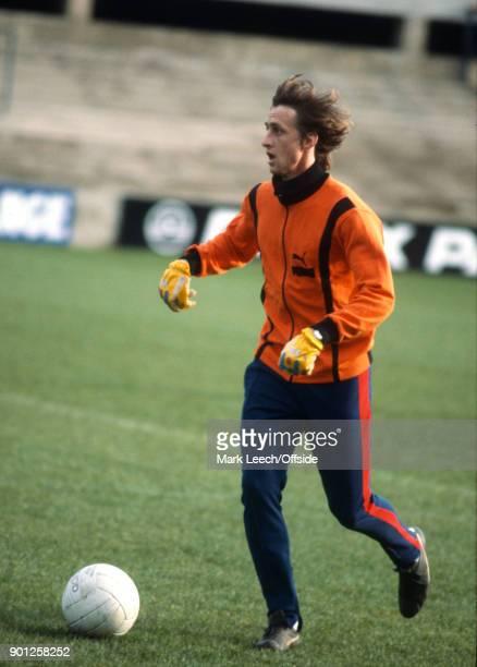 Johan Cruyff of FC Barcelona training at Portman Road ahead of a UEFA Cup tie