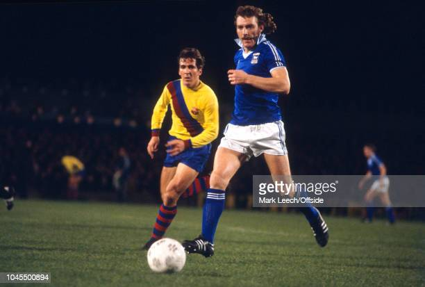 November 1977 - UEFA Cup - Ipswich Town v Barcelona - Kevin Beattie of Ipswich -