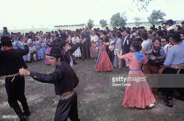 November 1978 Buenos Aires Argentina Official visit of the Kings of Spain Juan Carlos and Sofia to Argentina Traditional dance in honor of the Kings...