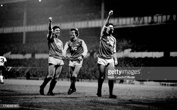 09 November 1983 Football League Cup Tottenham Hotspur v Arsenal Arsenal players celebrate a goal by Tony Woodcock who is joined by the smiling...