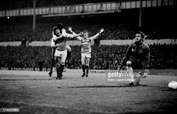 09 November 1983 Football League Cup Tottenham Hotspur v Arsenal Tottenham goalkeeper Ray Clemence kneels in dejection as Arsenal celebrate a goal by...