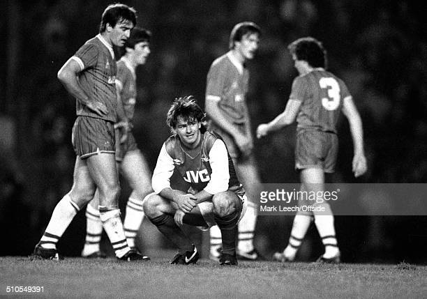 19 November 1983 Football League Division One Arsenal v Everton Charlie Nicholas after missing a chance for Arsenal