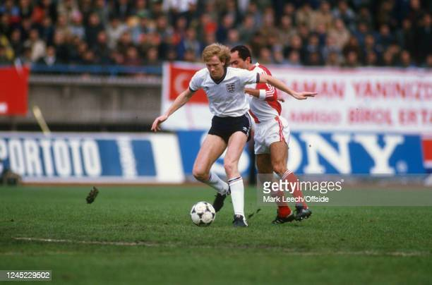 14 November 1984 FIFA World Cup Qualification Turkey v England Mark Wright of England shields the ball from a Turkey player