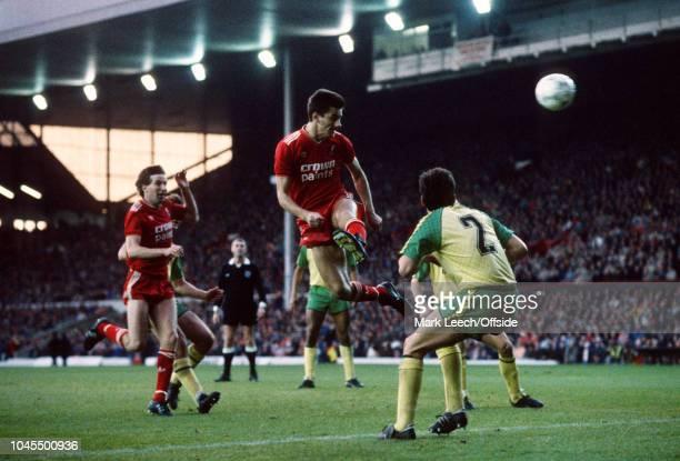 November 1986 - Football League Division 1 - Liverpool v Norwich City - Ian Rush of Liverpool heads towards goal - .