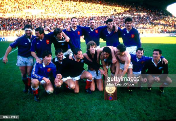 15 November 1986 New Zealand Tour France v New Zealand The French team celebrate their victory over the All Blacks
