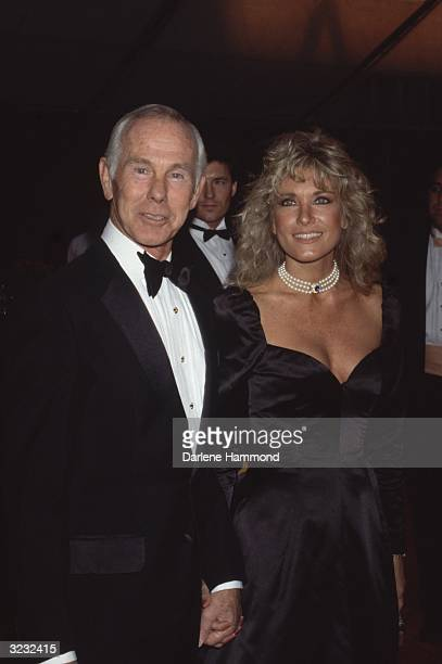 American comedian and television personality Johnny Carson and his wife Alexis attending a taping of the Television Academy Hall of Fame special...
