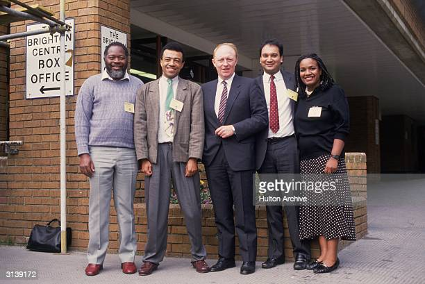 Welsh politician and leader of the Labour Party Neil Kinnock with the first four Black Labour MPs to be elected Bernie Grant Paul Boateng Keith Vaz...