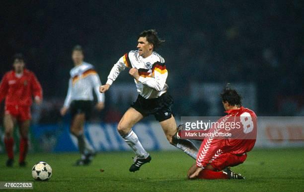 15 November 1989 International Qualifier West Germany v Wales Clayton Blackmore of Wales slides in hard on Klaus Augenthaler of West Germany