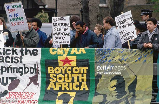 November 1992, England v South Africa, Demonstrators for the Anti-Apartheid Movement display signs and peacefully protest outside Twickenham.