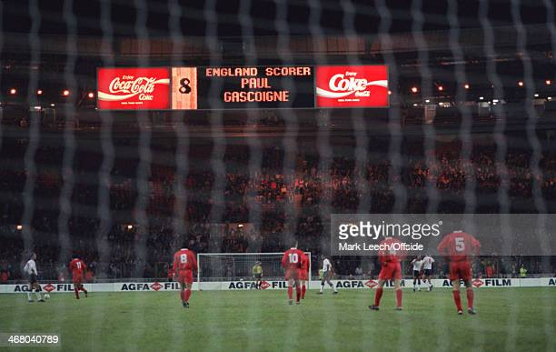 18 November 1992 World Cup Qualifier England v Turkey The scoreboard reads 'England Scorer Paul Gascoigne' after his goal at Wembley Stadium