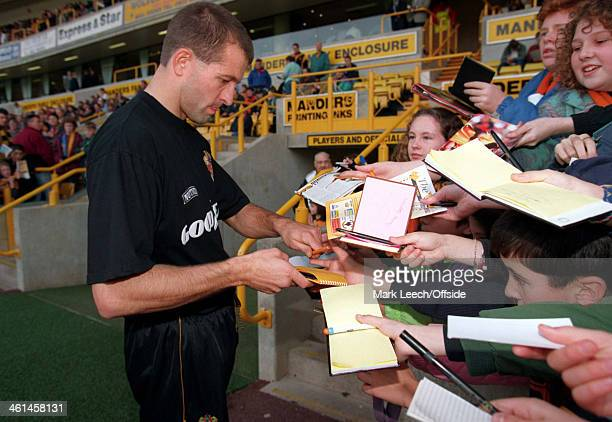05 November 1994 English Football League Division One Wolverhampton Wanderers v Luton Town Steve Bull signs autographs before the match for Wolves...
