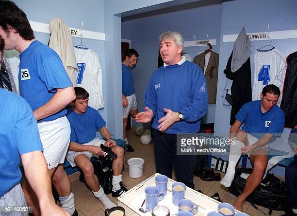 12 November 1994 FA Cup First Round Enfield FC v Cardiff City Enfield manager George Borg giving his prematch pep talk to his players
