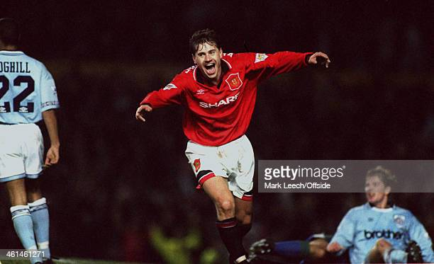 10 November 1994 FA Premiership Manchester United v Manchester City Andrei Kanchelsekis celebrates his hat trick goal for United
