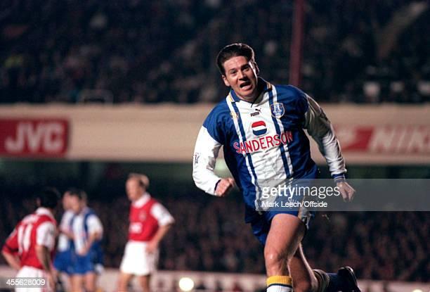 November 1995 - Premiership - Arsenal v Sheffield Wednesday - Chris Waddle of Sheffield Wednesday celebrates his goal.
