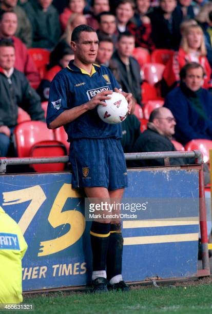 18 November 1995 Premiership Wimbledon FC v Middlesbrough FC Vinnie Jones of Wimbledon prepares to take a throw in