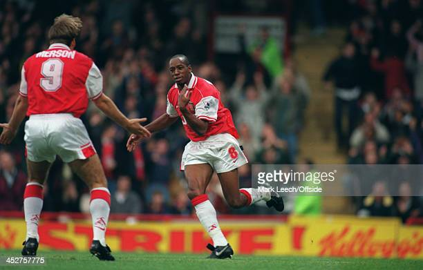 02 November 1996 FA Carling Premiership AFC Wimbledon v Arsenal Ian Wright is congratulated by Paul Merson after scoring a goal