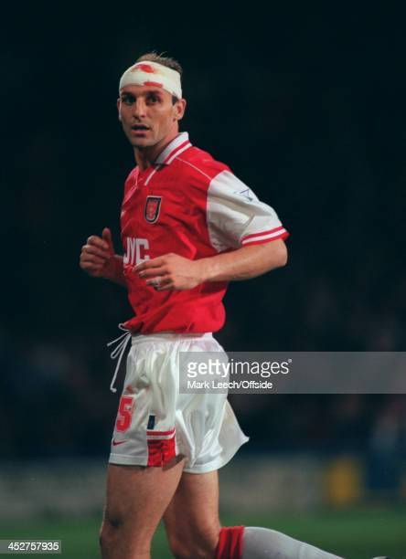 02 November 1996 FA Carling Premiership AFC Wimbledon v Arsenal Steve Bould of Arsenal wears a bandage after a head injury