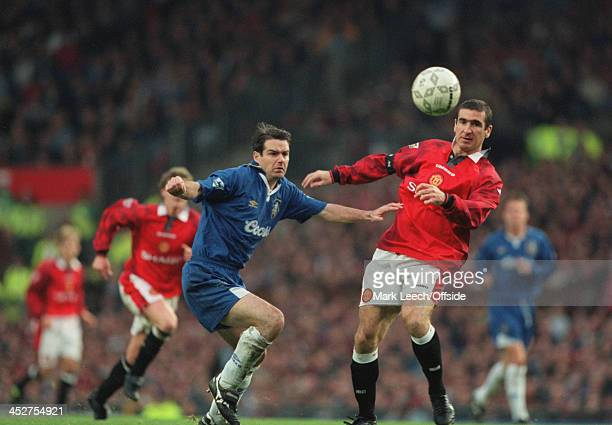 02 November 1996 FA Carling Premiership Manchester United v Chelsea Chelsea defender Steve Clarke battles for possession with Eric Cantona of...