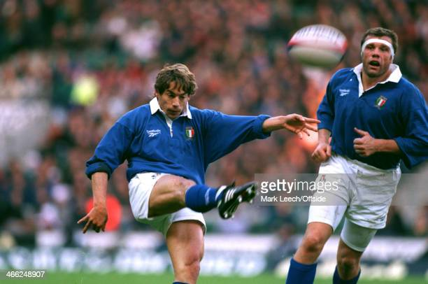 23 November 1996 International Rugby England v Italy Diego Dominguez of Italy drop kicks the ball