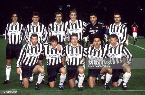 20 November 1996 Manchester UEFA Champions League Manchester United v Juventus Juventus team group back row Moreno Torricelli Ciro Ferrara Sergio...