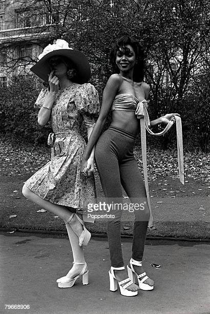 November 1st Mary Quant fashions modelled in London, On left a Liberty print cotton pleated sun dress with puff sleeves, On right a silky denim bra...