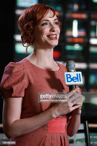 November 2 2009 Mad Men actress Christina Hendricks at press conference to announce Bell TV will offer American specialty channel AMC in both...