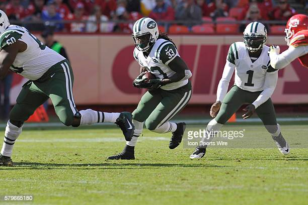 Jet running back Chris Ivory runs during the game between the New York Jets and the Kansas City Chiefs at Arrowhead Stadium in Kansas City,...