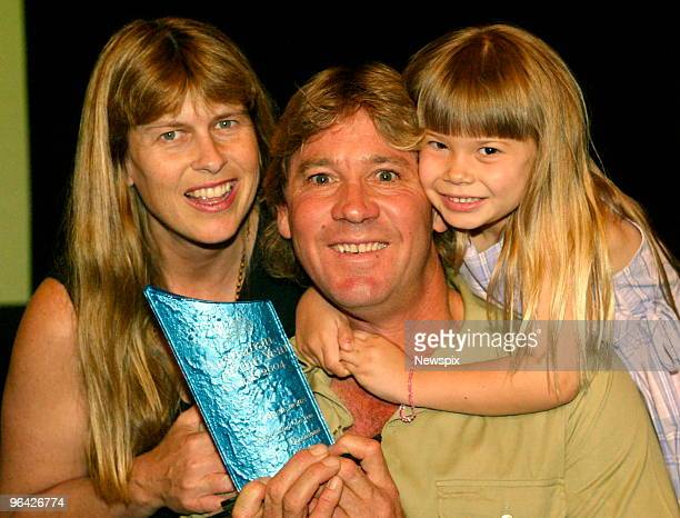'Crocodile Hunter' Steve Irwin who is Queensland's Australian of the Year 2004 state finalist is congratulated by his daughter Bindi Irwin and wife...