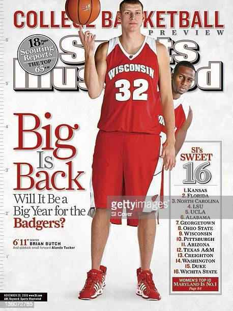 November 20 2006 Sports Illustrated Cover NCAA Season Preview Portrait of Wisconsin Brian Butch and Alando Tucker during photo shoot Madison WI...