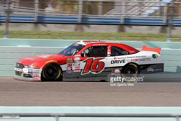 Ryan Reed, driver of the Lilly/American Diabetes Association Ford during practice for the Ford EcoBoost 300 at Homestead-Miami Speedway in Homestead,...