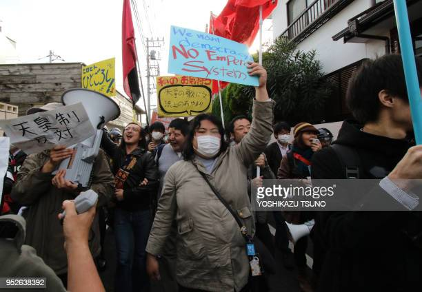 November 20 Tokyo Japan Some 100 civic group members hold a rally against Japan's Emperor system in Tokyo on November 20 2016 Right wing activisits...