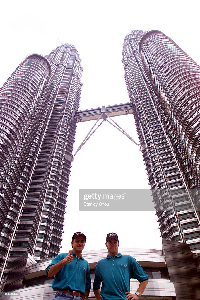 Felipe Massa and Nick Heidfeld of Sauber Petronas F1 Team poses for photographs at the Kuala Lumpur Twin Towers Park Lane during their recent visit in Kuala Lumpur. DIGITAL IMAGE. Mandatory Credit: Stanley Chou/ALLSPORT