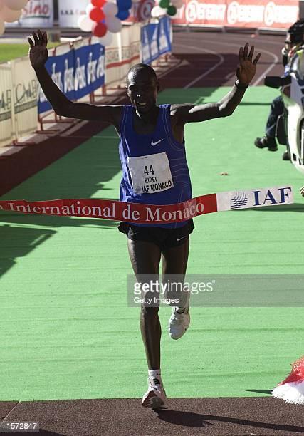 Wilson Kibet of Kenya, crosses the line first in the Monaco Marathon , at the Stade Louis II Stadium, Monte Carlo. Monaco. +Digital Image+. Mandatory...