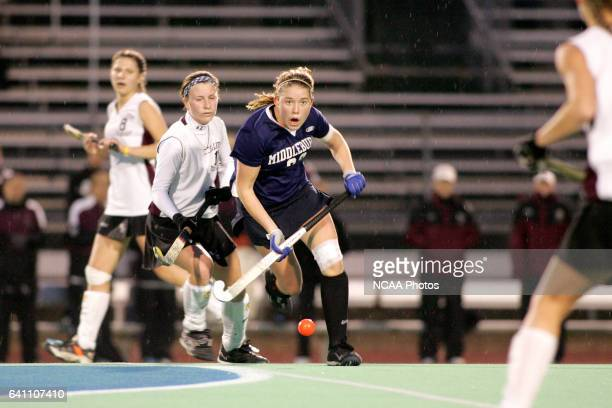 Middlebury's Nina Daugherty chases down the ball during the Division 3 Women's Field Hockey championship at Alumni Field on the campus of Westfield...