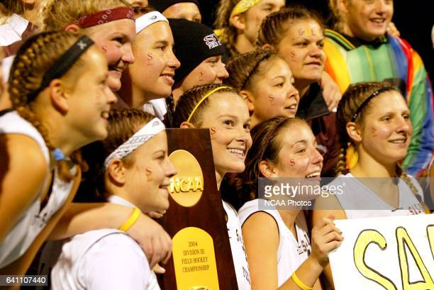 Salisbury's Erin Budd celebrates with her teammates following the Division 3 Women's Field Hockey championship at Alumni Field on the campus of...