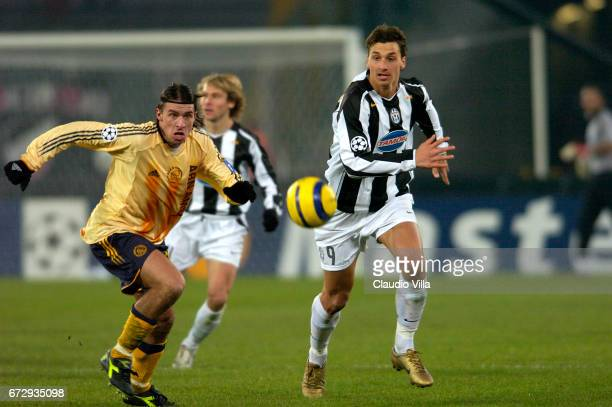 Zlatan Ibrahimovic of Juventus in action during the Champions League 2004/2005 macht played between Juventus Turin and Ajax Amsterdam at Delle Alpi...