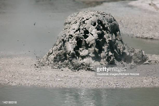 November 2007 - Bursting mud bubble, boiling mud pools, Wai-O-Tapu Geothermal area, Taupo Volcanic Zone, New Zealand.