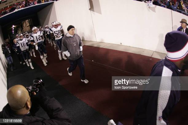 New England Patriots Head coach Bill Belichick during the game versus the Buffalo Bills at Ralph Wilson Stadium in Orchard Park. NY. New England...