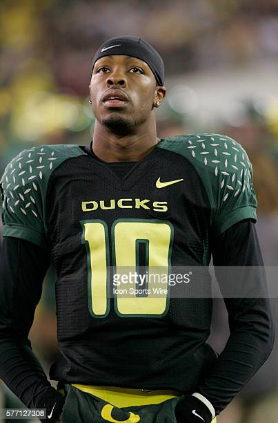 University of Oregon quarterback Dennis Dixon on the sidelines during their PAC-10 football game against Arizona State in Eugene, Oregon.