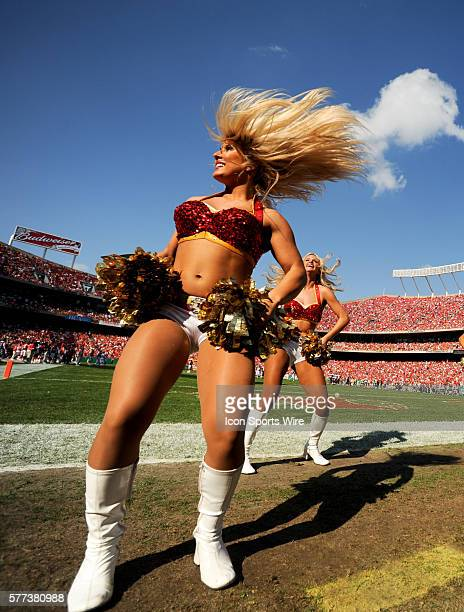 Kansas City Chiefs cheerleader performs during the Chiefs 30-27 overtime loss to the Tampa Bay Buccaneers at Arrowhead Stadium in Kansas City, Mo.