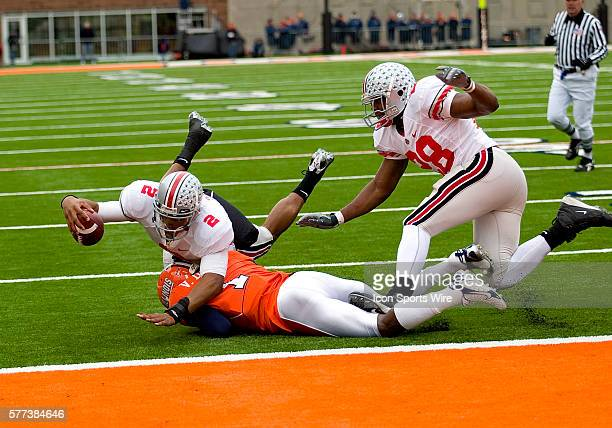 Ohio State QB Terrelle Pryor in action during their game against the University of Illinois at Memorial Stadium in Champaign Illinois Ohio State...
