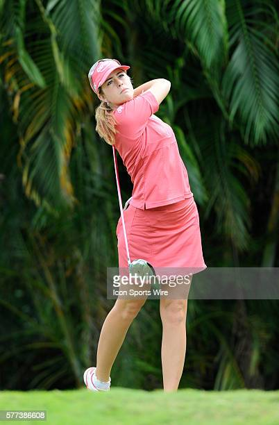 Paula Creamer tees off the 9th hole during the final round of ADT Championship LPGA Playoffs at the Trump International Golf Club in West Palm Beach...