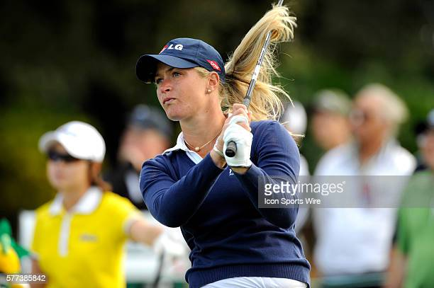 Suzann Pettersen tees off at the 16th hole during the third round of ADT Championship LPGA Playoffs at the Trump International Golf Club in West Palm...