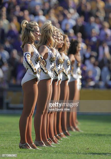 The LSU Golden Girls dance team performs prior to kickoff of the NCAA football game between the Ole Miss Rebels and the LSU Tigers at Tiger Stadium...