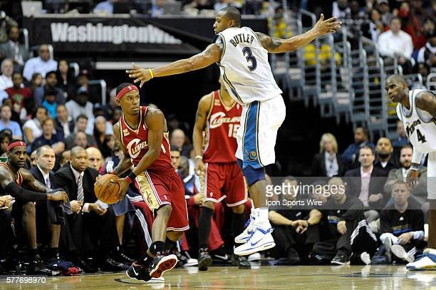 Cleveland Cavaliers guard Daniel Gibson in action against Washington Wizards forward Caron Butler at the Verizon Center in Washington DC The...